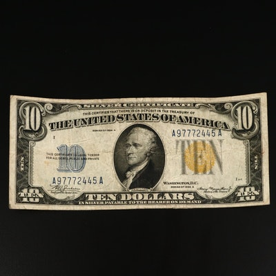 Series of 1934A $10 North Africa Yellow Seal Silver Certificate