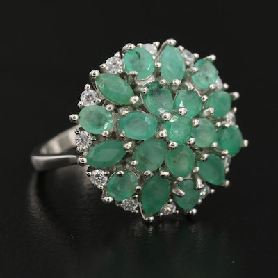 Sterling Silver Beryl and Cubic Zirconia Cluster Ring