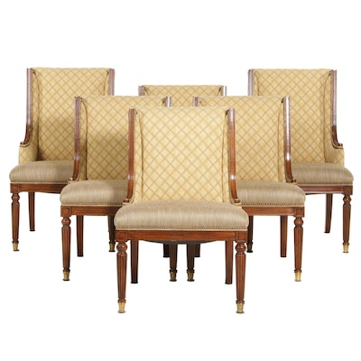 Six Neoclassical Style Upholstered Dining Chairs, Late 20th Century