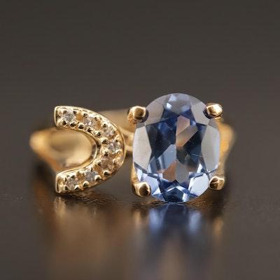 14K Sapphire and Diamond Asymmetrical Ring