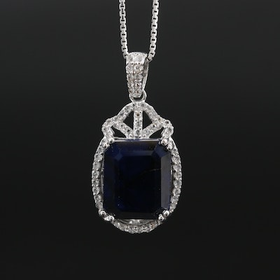 Sterling Silver Sapphire and White Topaz Pendant Necklace