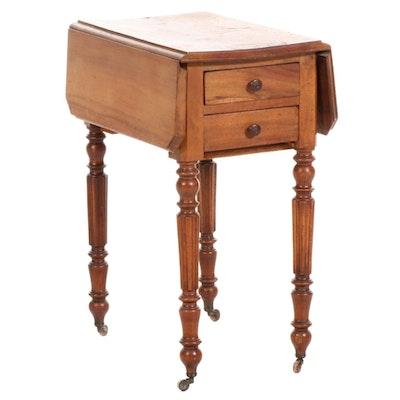 Figured Walnut Drop Leaf Side Table, Early 20th Century