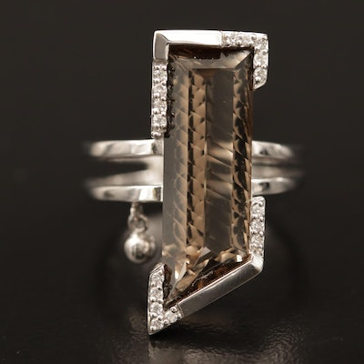 Breuning 18K Smoky Quartz Ring with Diamond Accents