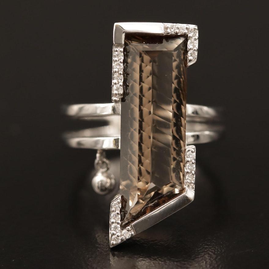 Breuning 18K Smoky Quartz Ring with Diamond Accents
