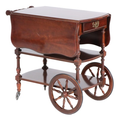 American Drew Cherry Veneer Drop Leaf Tea Cart, 21st Century