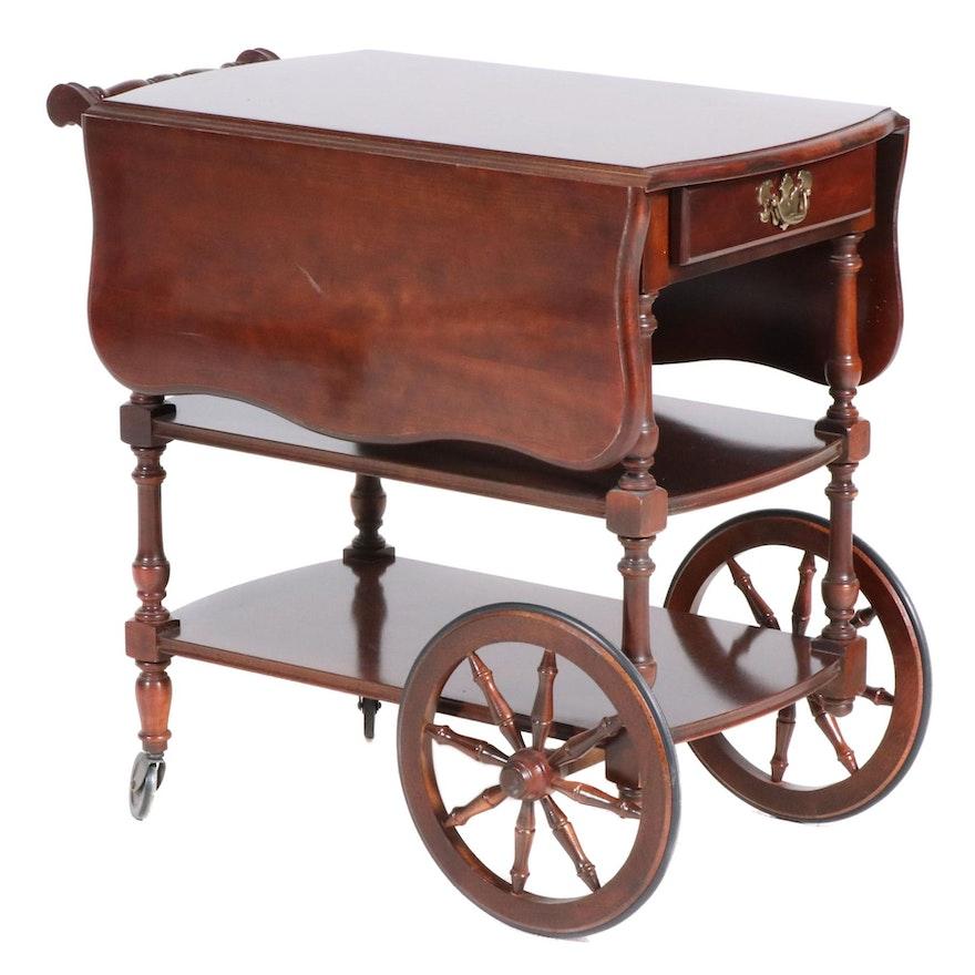 American Drew Cherry Veneer Drop Leaf Tea Cart, 21st Century