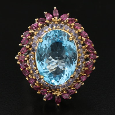 Sterling Swiss Blue Topaz, Garnet and Tanzanite Ring