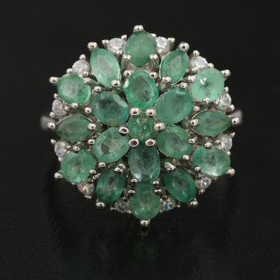 Sterling Emerald and Cubic Zirconia Cluster Ring