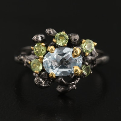 Sterling Topaz and Peridot Biomorphic Cluster Ring