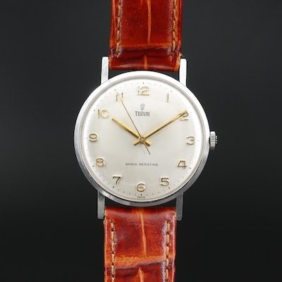 Circa 1955 Tudor Stainless Steel Stem Wind Wristwatch