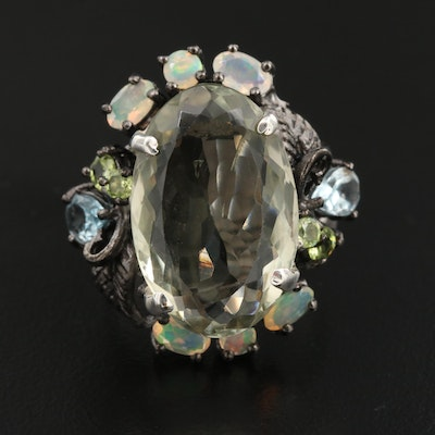 Sterling Quartz, Opal and Blue Topaz Foliate Ring