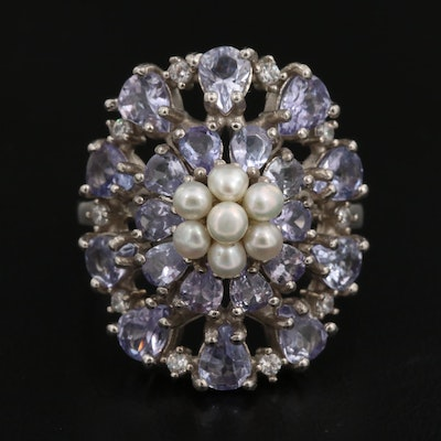 Sterling Silver Tanzanite, Cubic Zirconia and Pearl Cluster Ring