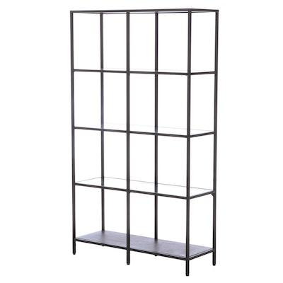"""IKEA """"Vittsjö"""" Powder-Coated Steel, Engineered Wood, and Glass Shelving Unit"""