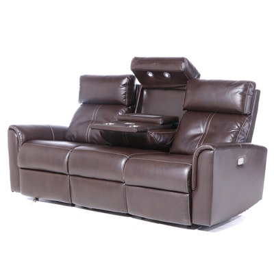 "Havertys ""Easy Street"" Faux-Leather Dual Power-Reclining Sofa"