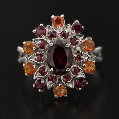 Sterling Silver Garnet and Sapphire Ring