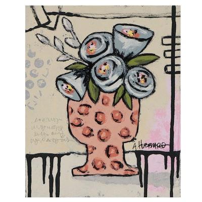 Angie Hubbard Still Life Mixed Media Painting, 21st century