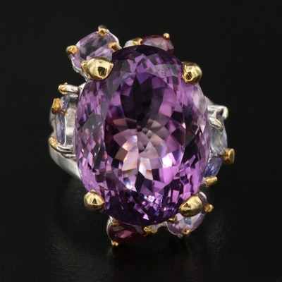 Sterling Silver Amethyst, Tanzanite, and Garnet Ring