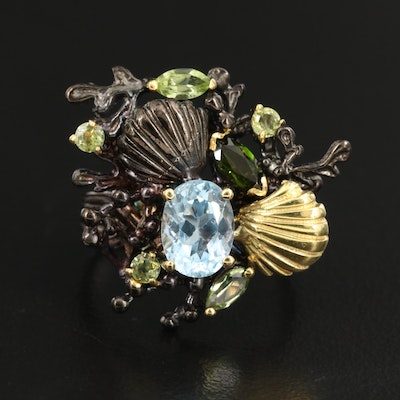 Sterling Silver Blue Topaz, Peridot and Diopside Seashell Motif Ring