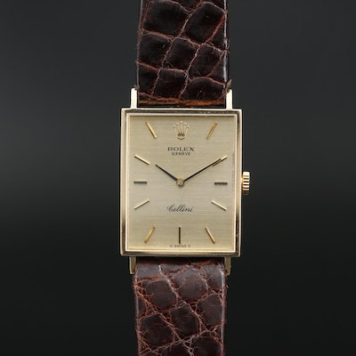 "1974 Rolex ""Cellini"" 18K Gold Stem Wind Wristwatch"