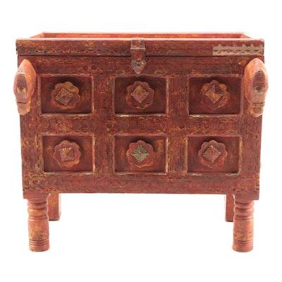 Sino-Tibetan Style Polychromed  Trunk with Horse Head Embellishments