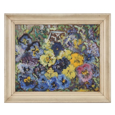 Impressionist Style Still Life with Pansies Oil Painting, Mid-Late 20th century