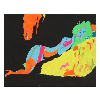 Robert W. Hasselhoff Mixed Media Painting of Reclining Woman