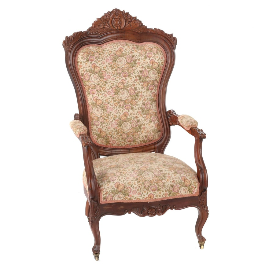 Victorian Carved Walnut Upholstered Arm Chair, Late 19th Century
