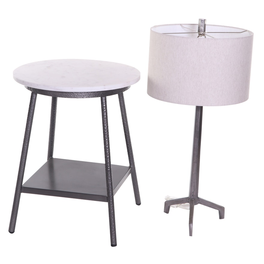 Hammered Metal and Marble Side Table with Modern Steel Table Lamp