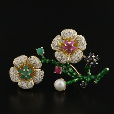 Sterling Silver Floral Brooch with Beryl, Corundum and Cubic Zirconia