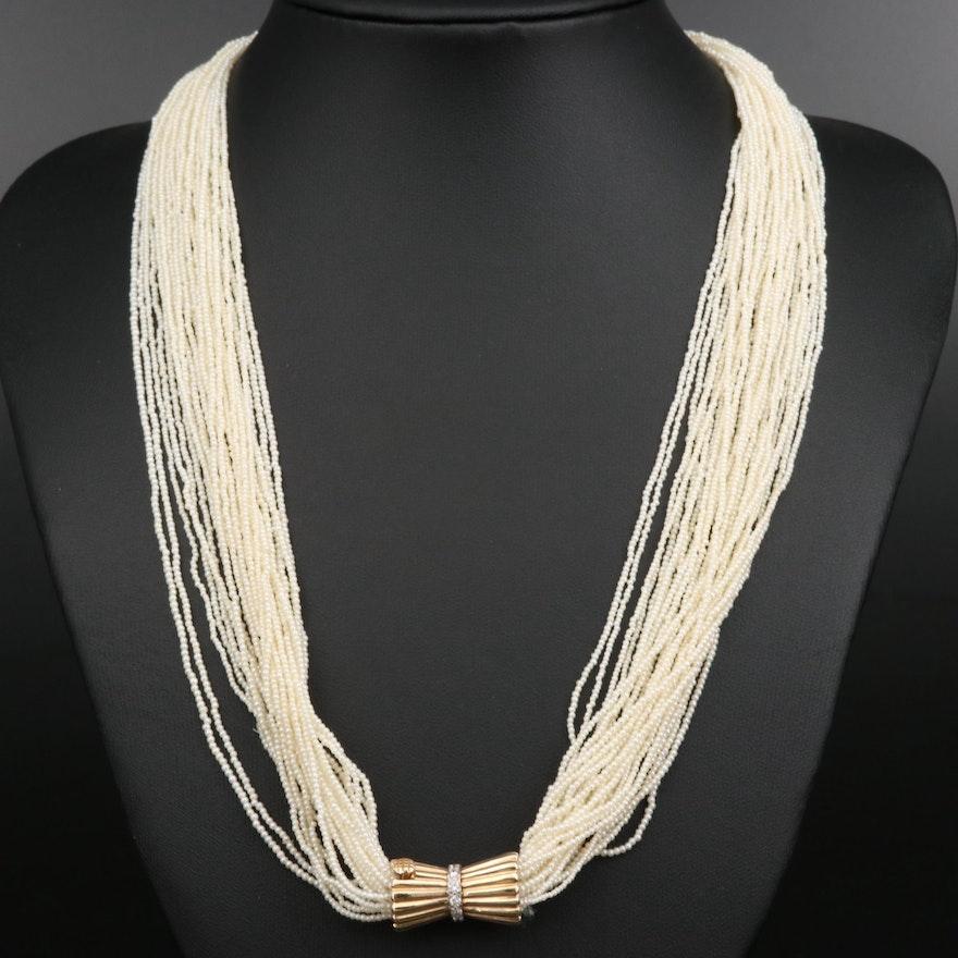 Retro Seed Pearl Multi-Strand Torsade Necklace with 14K Diamond Clasp