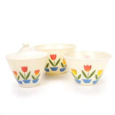 """Fire-King """"Tulip"""" Milk Glass Drip Jar with Lid and Mixing Bowls"""