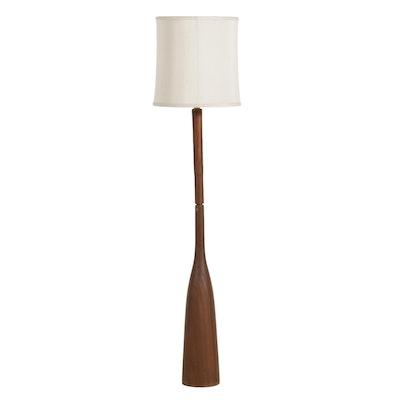 Mid Century Modern Turned Walnut Floor Lamp