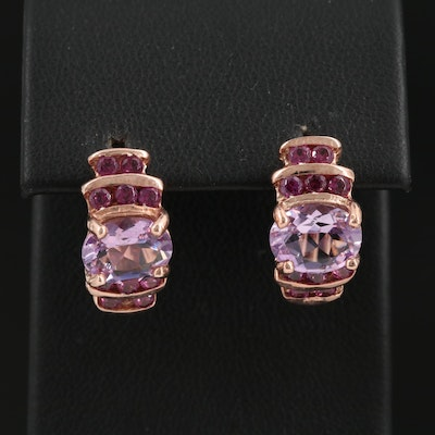 Sterling Silver Amethyst and Garnet Half Hoop Earrings