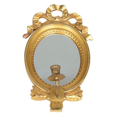 Österlunds Förgylleri Swedish Gold Leaf Oval Mirror Back Sconce