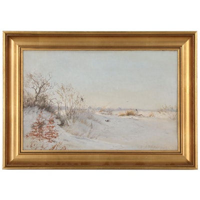 Winter Landscape Oil Painting, Mid 20th Century