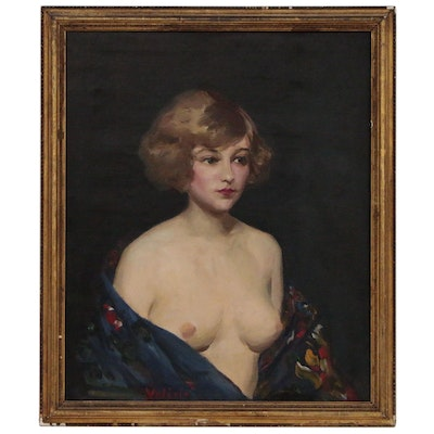Valerie Portrait Oil Painting, Mid 20th Century
