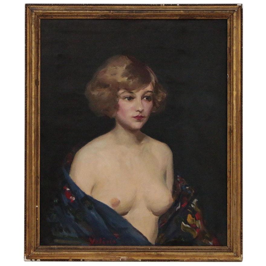 Valerie Portrait Oil Painting, Mid 20th Century