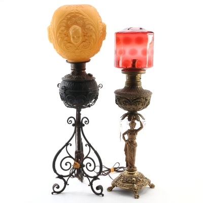 Brass Mantel Luster Parlor Lamp and Iron Scrollwork Lamp with Satin Glass Globe