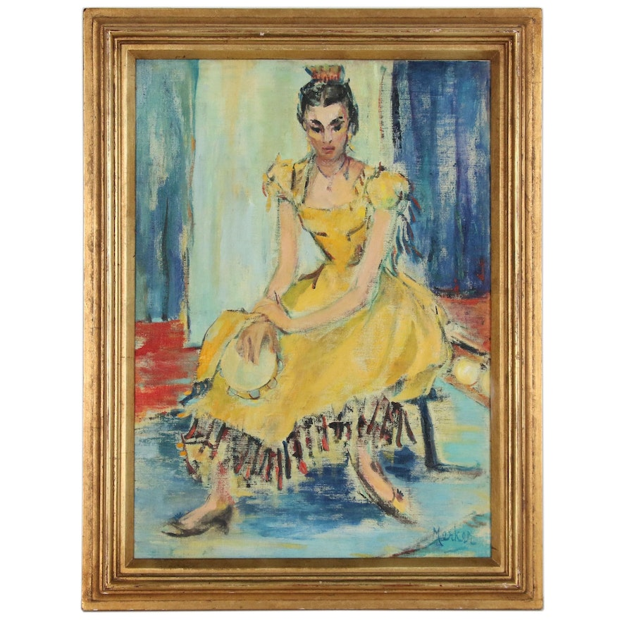 Merker Oil Painting of Woman in Yellow Dress, Late 20th Century