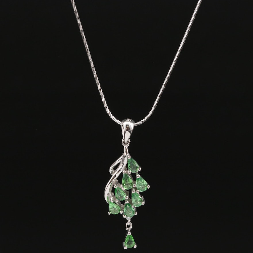 Sterling Silver Diopside and Cubic Zirconia Waterfall Necklace