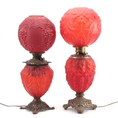 Red Satin Glass and Brass Table Lamps with Molded Glass Globes