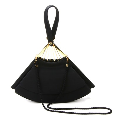 Karl Lagerfeld Iconic Black Fan Wristlet Purse with Ball Chain and Cord Strap