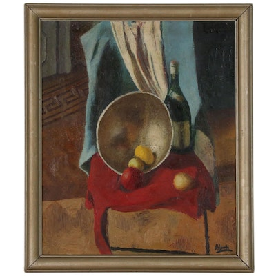 Still Life Oil Painting with Fruit, Mid 20th Century