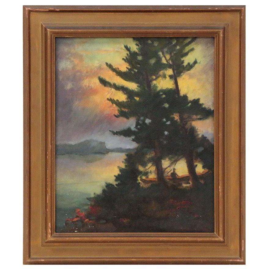 "Landscape Oil Painting ""Storm Sunset'"", Mid 20th Century"