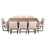 """Distressed Light Grey Wood Dining Table with """"Carter"""" Linen Side Chairs"""