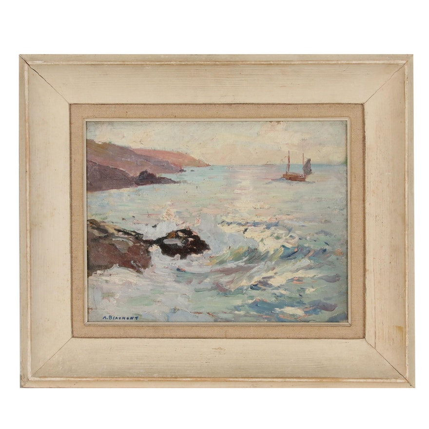 Arthur Beaumont Coastal Oil Painting, Early 20th Century