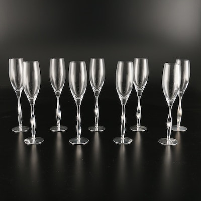 """Nambe """"Twist"""" Crystal Champagne Flutes Designed by Fred Bould, 2004"""