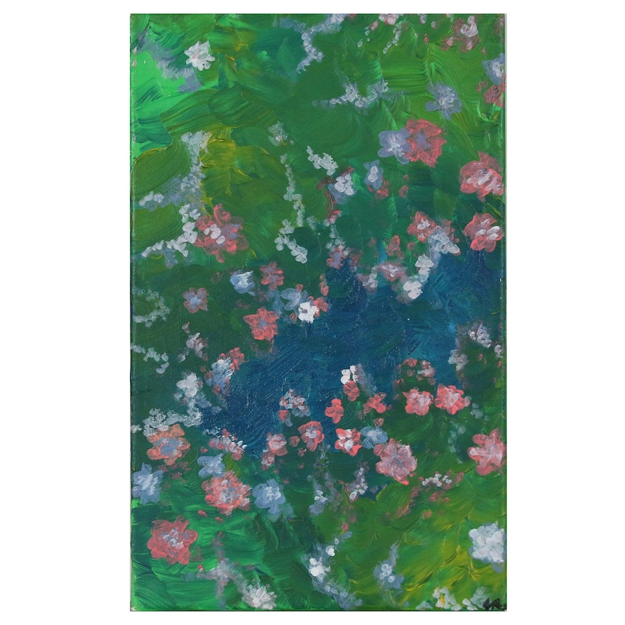 Abstract Oil Painting of Field with Flowers, 21st Century