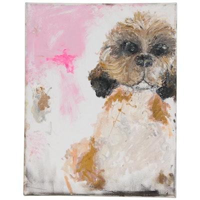 Oil Painting of Shih Tzu Dog, 21st Century