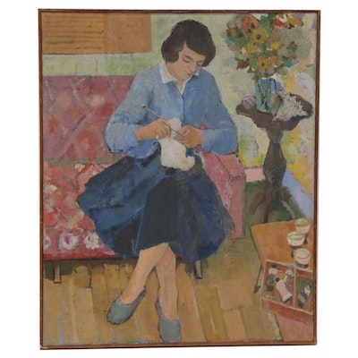 "Figural Oil Painting ""Knitting"", Late 20th Century"
